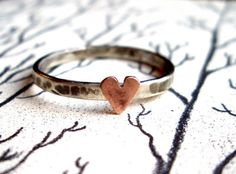 Copper Heart Ring in Sterling Silver