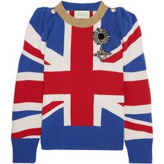 Gucci Union Jack embellished wool sweater (727.035 HUF) via Polyvore featuring tops, sweaters, wool sweaters, union jack top, red sweater, woolen sweater and embellished tops