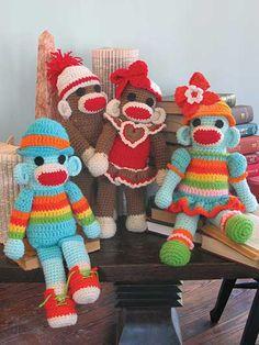 Sock Monkey Twins Crochet Pattern
