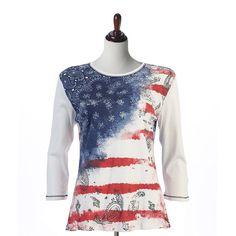 "Jess & Jane Cotton Tee Shirt ""Vintage Flag"" in White"