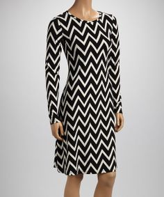 This Black Zigzag Shift Dress by Reborn Collection is perfect! #zulilyfinds