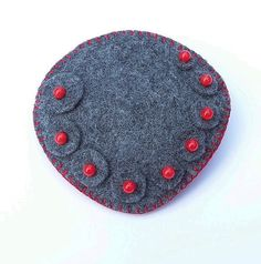 SYBIL Winter Grey With Red Berries Felt Brooch by CherryPips
