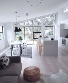 Open white space living kitchen area home