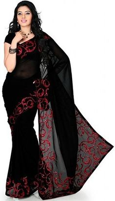 Red & Black Party Wear Saree Designs « Episodes