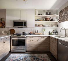 Decor, Open House Nyc, Wicker Floor Lamp, Kitchen Shelves, Kitchen, Interior Design, Home Decor, Upper Cabinets, Emily Henderson
