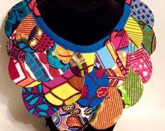 Collier plastron imprimé africain