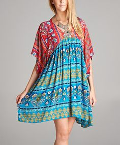 This Turquoise & Red Geometric Dolman Empire-Waist Tunic - Plus is perfect! #zulilyfinds
