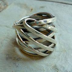 Silver wedding Ring Silver Wire Wrap Ring Wide by Ellishshop