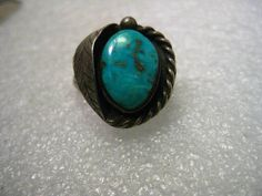 Vintage Sterling Silver Turquoise Nugget Southwestern Ring, Leaf accent, s 9.75. #unbranded