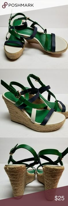 """Tommy Hilfiger Wedges White and green sandals. 7.5 M with 4.5"""" heel. NEW w/o Box Tommy Hilfiger Shoes Wedges"""