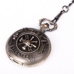 Pocket Watch Quartz Movement Bronze Fire Fighter Case Arabic Numerals with Chain Full Hunter Vintage Design PW-30 ShoppeWatch. $25.01. Metal Chain Length 365mm (14 inches). White Dial with Arabic Numerals. Full Hunter Pocket Watch with Figher Fighter Design. Save 50% Off!