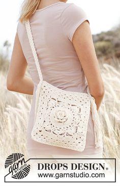 """Crochet DROPS bag with plaited shoulder strap in """"Paris"""". Crochet Purse Patterns, Crochet Tote, Crochet Handbags, Crochet Purses, Free Crochet, Knit Crochet, Crochet Summer, Drops Design, Pochette Rose"""