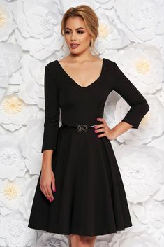 "StarShinerS black dress elegant cloche slightly elastic fabric accessorized with belt, accessorized with belt, flaring cut, ""V"" cleavage, 3/4 sleeves, slightly elastic fabric"