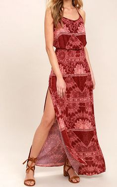 O'Neill Kravitz Wine Red Print Maxi Dress via @bestmaxidress
