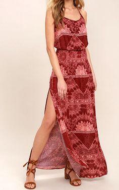 O'Neill Kravitz Wine Red Print Maxi Dress via @bestmaxidress