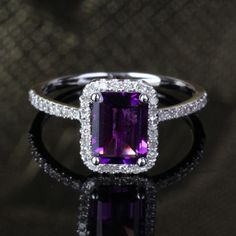 6x8mm Emerald Cut Amethyst 14k White Gold 29ct Diamond Halo Engagement Ring