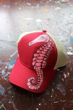 Hand Painted Seahorse Trucker Hat by YellowBirdBohemia on Etsy, $58.00 Painted Hats, Hand Painted, Wave Stencil, Sharpie Projects, Fancy Hats, Trucker Hats, Visor Hats, Visors, Fabric Painting