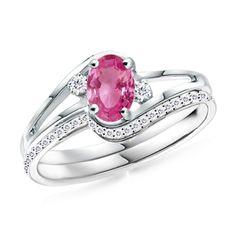 Oval Pink Sapphire and Round Diamond Split Shank Wedding Ring Set: Angara