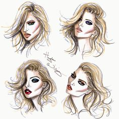Hayden Williams Fashion Illustrations: Kate Moss Beauty Looks by Hayden Williams for Rimmel London