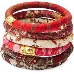 Rosena Sammi Set Of 6 Sari Fabric Bangle Bracelet ($29) ❤ liked on Polyvore featuring jewelry, bracelets, red, bracelets & bangles, red jewelry, red bangles, bracelet bangle and hinged bracelet