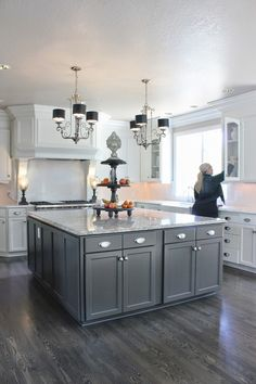 White cabinets, grey island, pewter HW floors...exactly what I've envisioned in my head