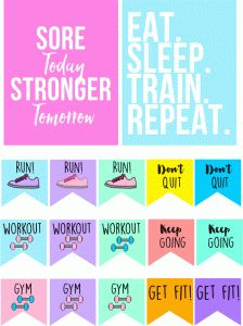 print and cut file! Silhouette Design Store: motivational workout flags & stickers