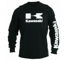 KAWASAKI STACKED LOGO LONG SLEEVE T-SHIRT Item# K004-2014-BKSM MSRP$24.95  #Kawasaki #tshirt #giftsforhim