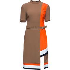LATTORI Ocher Catch, Asymmetric Short Sleeve High Neck Dress ($249) ❤ liked on Polyvore featuring dresses, vestidos, short sleeve dress, asymmetrical sleeve dress, viscose dress, high neck dress and sleeved dresses