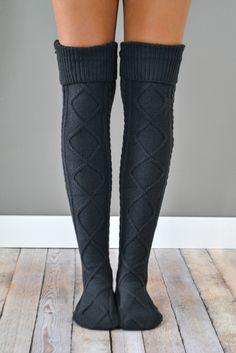 Charcoal Diamond Cable Knit Boot Socks The Charcoal Cable Knit Boot Socks are stylish and cozy, making them a perfect choice for casual afternoons when looking effortlessly cute is of utmost importance! {Also available in Cream, Grey and B Fashion Moda, Look Fashion, Fashion Outfits, Knit Boots, Thigh High Socks, Thigh Highs, Cute Socks, Boot Socks, Knitting Socks