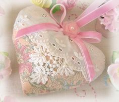 Heart Sachet 5 inch  Sachet Heart Pink Floral by CharlotteStyle, $13.50