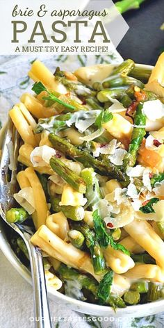 Brie and Asparagus Pasta Orzo Pasta Recipes, Best Pasta Recipes, Easy Healthy Recipes, Pasta Dishes, Easy Dinner Recipes, Beef Recipes, Salad Recipes, Vegetarian Recipes, Easy Meals