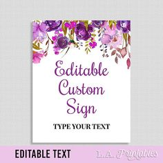 EDITABLE Sign, Purple Floral Shower or Party Table Sign, Editable Text, Purple Watercolor Floral, 8x10 inch Template, INSTANT PRINTABLE