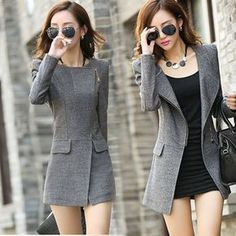 Women's Slim Fit Trench Long Coat Wool Blend Fashion Office Outwear Jackets Hot in Clothing, Shoes & Accessories, Women's Clothing, Coats & Jackets New Fashion, Korean Fashion, Winter Fashion, Fashion Outfits, Fashion Trends, Fashion Women, Fashion Spring, Fashion 2017, Fashion Coat