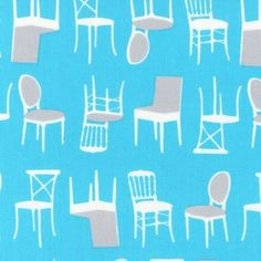 Laurie Wisbrun - Perfectly Perched - Stacked Chairs in Turquoise at Hawthorne Fabrics - great selection