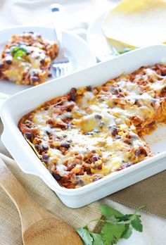 BBQ Chicken Enchilada Casserole | Recipe Runner | BBQ meets Mexican food in this easy to make casserole. One of the best casseroles I've made! #BBQ #chicken #enchiladas #casserole