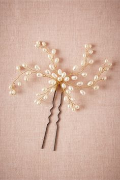 Dewed Vines Hairpin. A spindly accent from Jane Tran. Iron pin, brass wire, freshwater pearl. Handmade in USA.