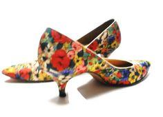 Floral Shoes 60s Vintage Silk Spike Stilettos Evening Wear Pumps Flowered Watercolor Monets Garden  size 7