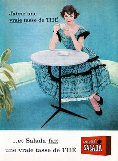 A lovely turquoise blue filled ad for Salada Tea (1957). #vintage #1950s #food #tea #ads #French