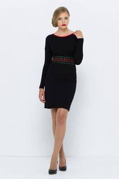 czarna sukienka z kwiatami VISSAVI