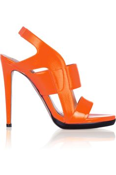 Reed Krakoff | Cutout patent-leather and textured-leather sandals
