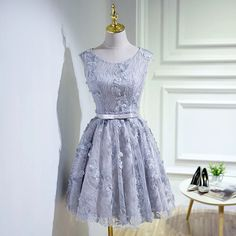 Vintage Lace Homecoming Dress,Silver Short Prom Dress,2234