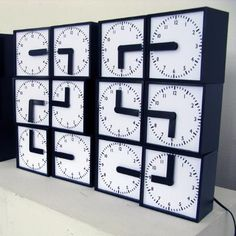Swedish design company Humans Since 1982 has created a prototype of a digital clock from 24 analog alarm clocks, whose hands come together to create a digital display of the time. Big Clocks, Cool Clocks, Unusual Clocks, Analog Alarm Clock, Alarm Clocks, Photo Clock, Time Clock, Digital Clocks, Time Design