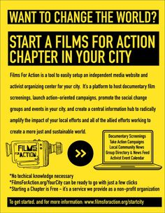 Films For Action: Our city chapter platform provides a growing suite of free technical tools and resources to make creating your own robust, independent media hub for your city as easy as possible. Read more: http://www.filmsforaction.org/startcity/ Check out our Lawrence,KS city chapter: http://www.filmsforaction.org/lawrence/