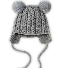Muster patterns sewing crochet knitting etc Knitting winter hat with pom poms for c Babymütze mit Ohrenklappen Crochet Hat knitting patterns pom poms sewing Winter Knitted Hats Kids, Knitting For Kids, Kids Hats, Free Knitting, Children Hats, Knitted Bags, Knitting Projects, Baby Knitting Patterns, Sewing Patterns