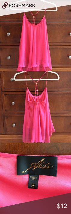 Silk blouse Rose /pink t strap silk blouse with polyester liner. Very good condition. Loose/ flowing blouse. akiko Tops Blouses