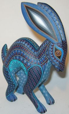 Oaxacan carved and painted rabbit or hare. Mexico