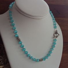 Blue Cats Eye Toggle Clasp Necklace £8.00