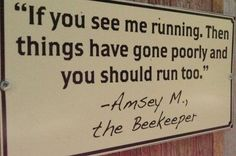 I LOVE this funny Bee keeper sign, it would work just as well for the Dr! Quotes Thoughts, Life Quotes Love, Abraham Hicks, Raising Bees, Bee Art, Busy Bee, Save The Bees, Bee Happy, Bees Knees