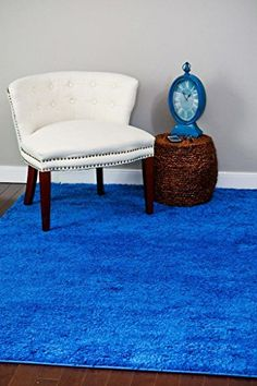 Blue Shag 5u00272x7u00272 Area Rug Carpet Large New Persian Rugs