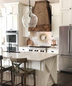 Pottery Barn Pendant, Kitchen Lighting, White Kitchen, Wood range, Farmhouse kitchen - ALL ABOUT Pottery Barn Pendant Lights, Pottery Barn Lighting, Pottery Barn Kitchen, Pottery Barn Style, New Kitchen, Kitchen Decor, Kitchen Wood, Kitchen Ideas, Dining Room Lighting